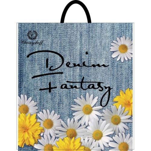 Полиэтиленовый пакет с пластиковой ручкой (сумка) ''Джинс цветы'' 400*420, 10 шт