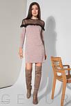 Трикотажное розовое платье с прозрачной кокеткой, фото 2