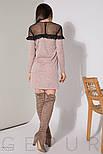 Трикотажное розовое платье с прозрачной кокеткой, фото 3