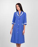 Жіночий медичний халат синій габардин