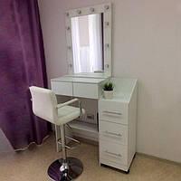 Стол визажиста с передвижной тумбой, гримерный стол с выдвижными ящиками, туалетный стол с зеркалом