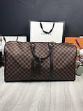 Кожаная дорожная сумка Louis Vuitton коричневая натуральная кожа Люкс Качество Модная сумка Луи Виттон реплика, фото 2