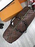 Кожаная дорожная сумка Louis Vuitton коричневая натуральная кожа Люкс Качество Модная сумка Луи Виттон реплика, фото 3