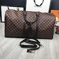 b114a2515ed5 Кожаная женская дорожная сумка Louis Vuitton коричневая кожа плечевой  ремень Луи Виттон премиум реплика