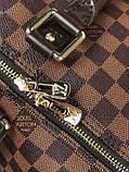 Кожаная дорожная сумка Louis Vuitton коричневая натуральная кожа Люкс Качество Модная сумка Луи Виттон реплика, фото 4