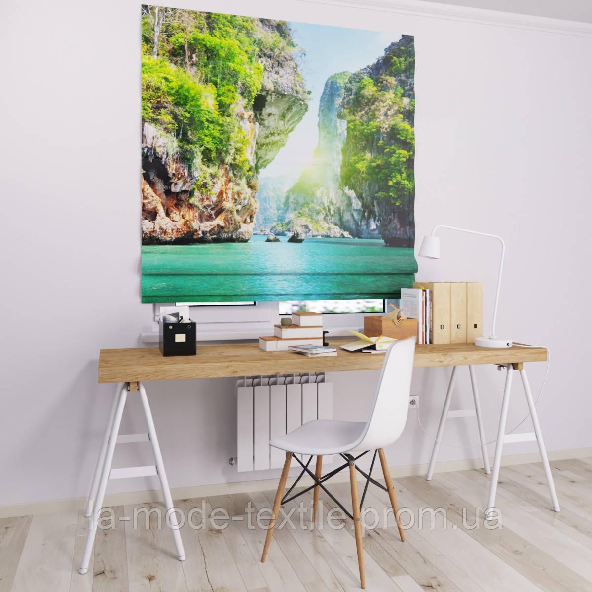 Римска штора с фотопечатью Водопад