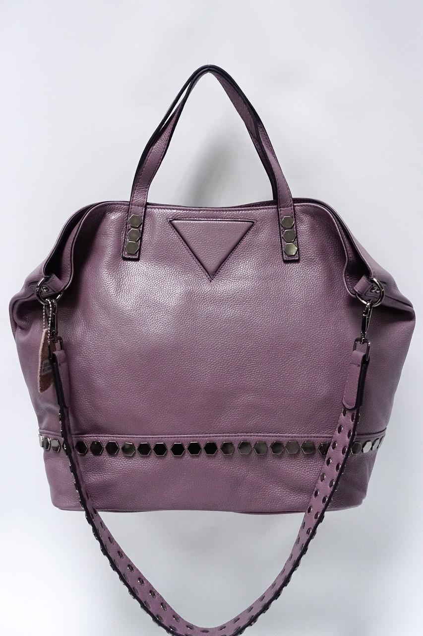 Большая женская сумка из натуральной матовой кожи 83018 l.purple. Реплика