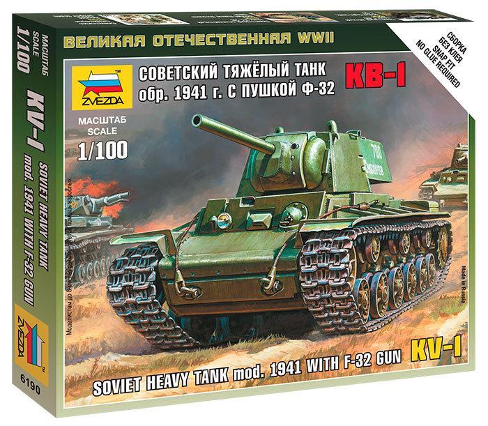 Збірна модель танка КВ-1 зразка 1941 р. з гарматою Ф-32. Збірка без клею 1/100 ZVEZDA 6190