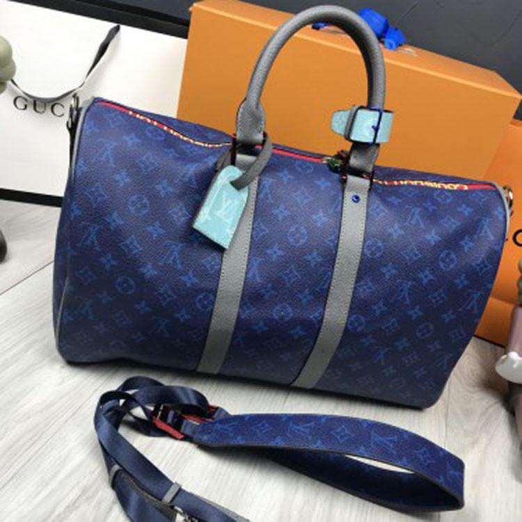 Кожаная женская дорожная сумка Louis Vuitton синяя кожа плечевой ремень унисекс Луи Виттон люкс реплика