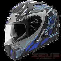Мотошлем Zeus ZS-806F Черный с синим рисунком, фото 1