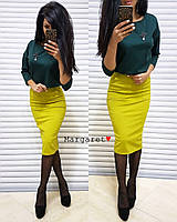 Костюм женский двойка блуза с украшением и юбка карандаш с карманами Kmk1017, фото 1