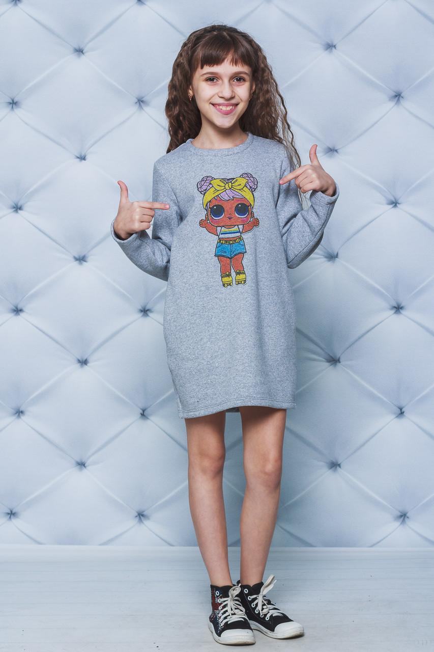 Платье для девочки с начесом Лол светло-серое