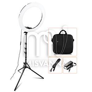 """Профессиональная кольцевая лампа MakeUp RL-18"""" с штатив-треногой для косметологии"""