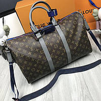 Кожаная мужская дорожная сумка Louis Vuitton коричневая натуральная кожа унисекс Луи Виттон премиум реплика, фото 1