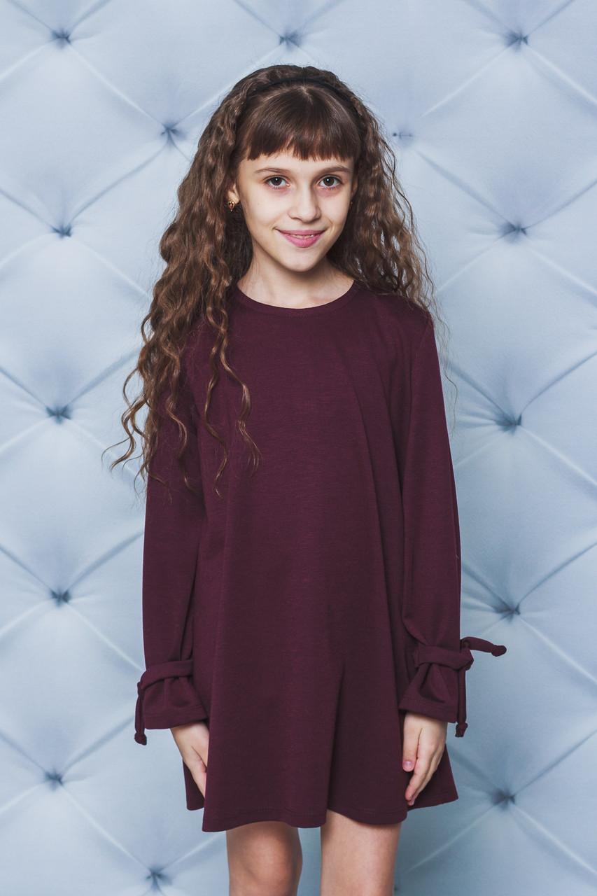 Трикотажное платье для девочки бордо