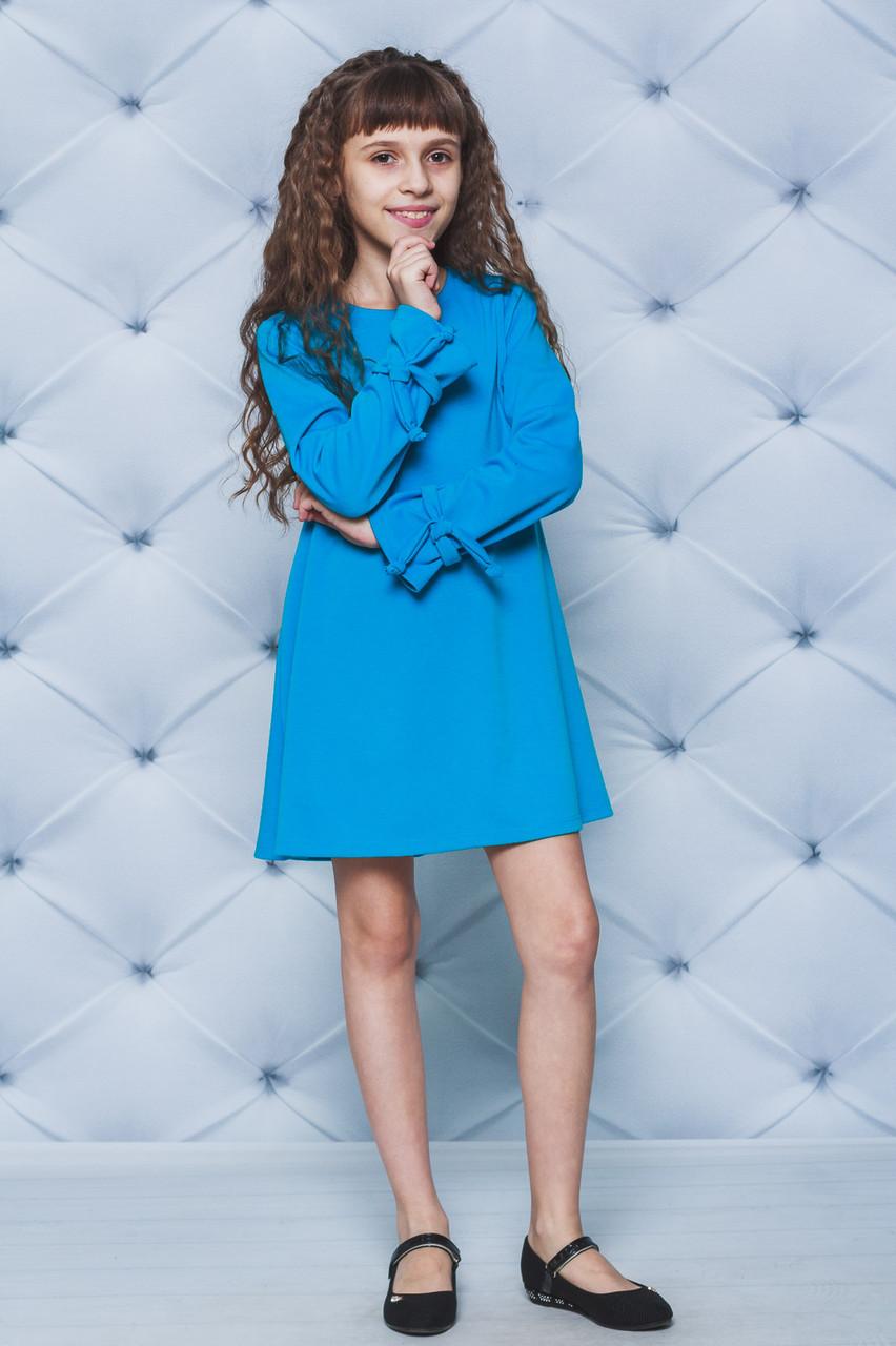 Трикотажное платье для девочки голубое