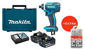 Аккумуляторный ударный шуруповерт Makita DTD152RFEX + 2 акб 18 V 3 Ah + з/у + кейс + набор сверл