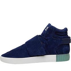 Мужские кожаные кроссовки Adidas Originals Tubular Invader Strap (BB5041) синие оригинал