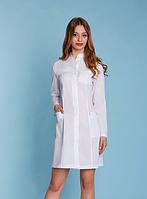 Жіночий медичний халат з довгим рукавом (батист)