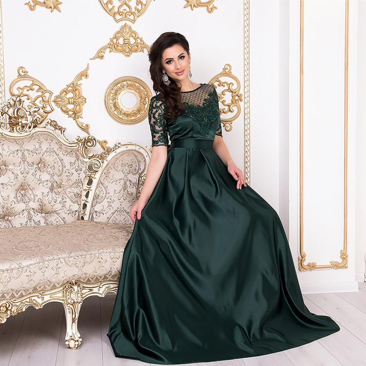 0c2f6239a5ca7a1 Роскошное атласное вечернее платье в пол размер M