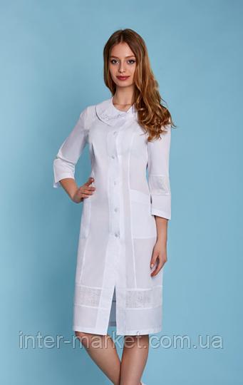 Женский медицинский халат  с вышивкой (батист) , фото 1