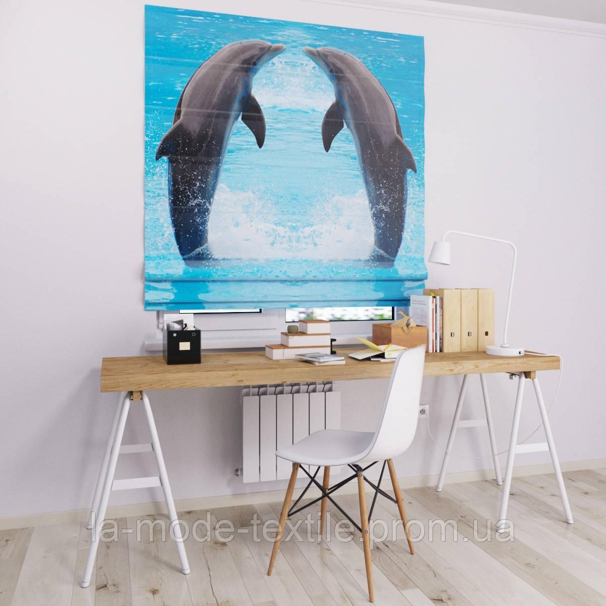 Римская штора с фотопечатью Дельфины