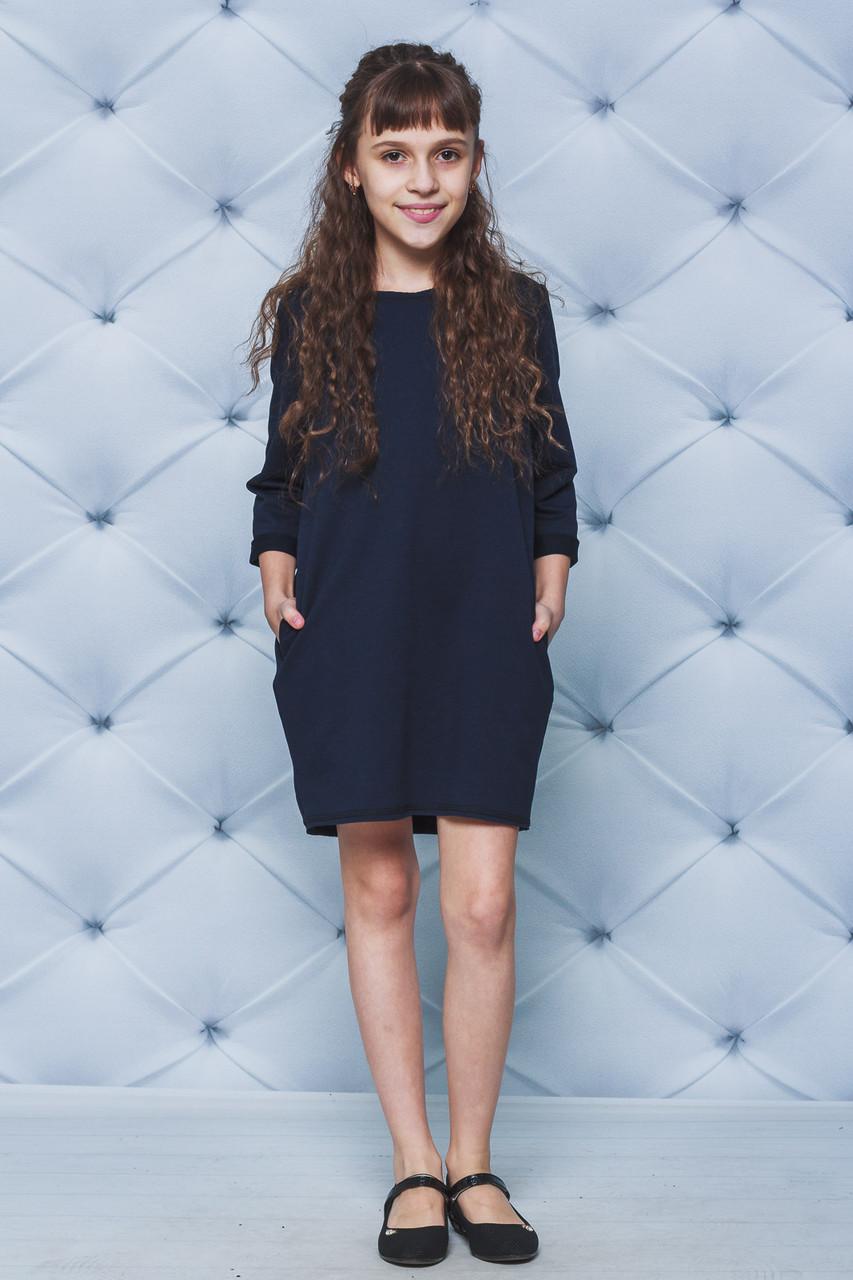 Платье для девочки темно-синее