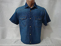 478ed444a42 Мужская джинсовая рубашка с коротким рукавом на кнопках с двумя карманами  Angelo Litrico