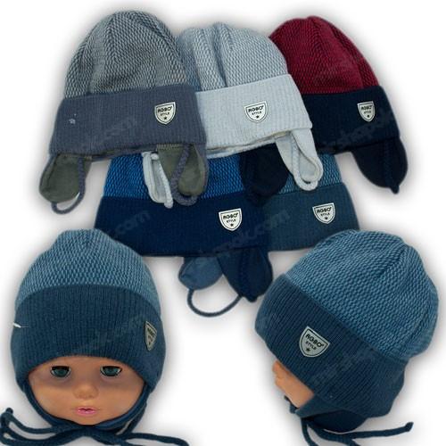 Детские вязаные шапки на завязках, р. 46-48