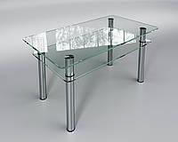 Стеклянный стол Кристалл мини с полкой (журнальный), фото 1