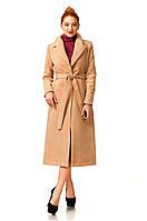 Стильное женское пальто-халат. Модель ПЛ003_темный беж
