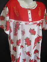 Женские сорочки с цветами и однотонной вставкой.