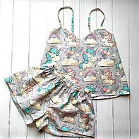 Пижамы женские в единороги 100% хлопок