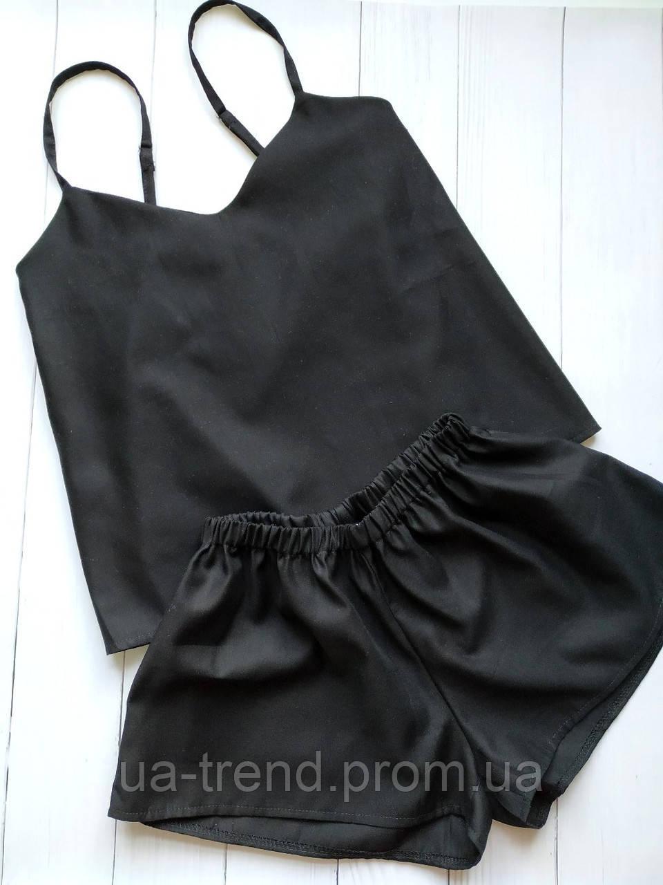 Пижама женская однотонная черного цвета 100% хлопок