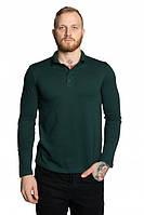 Мужская футболка поло с длинным рукавом темно-зеленая