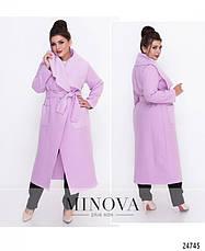 Пальто-кардиган шерсть без подкладки розовое светлое размеры: 50,52,54,56, фото 3