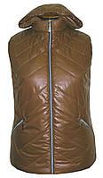 Весенняя жилетка с капюшоном больших размеров,утеплитель силикон,размеры с 54 по 64, шоколад(2)
