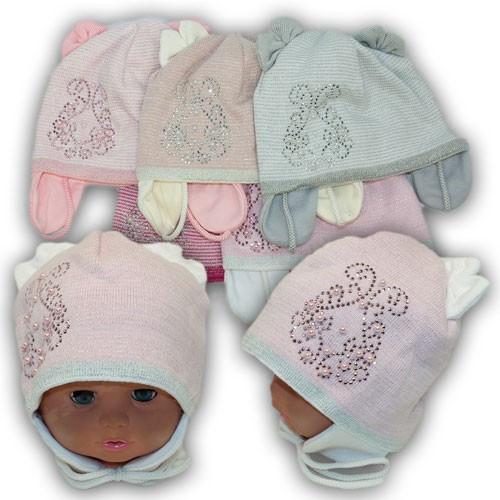 Польские детские шапки для девочки на трикотажной подкладке, р. 46-48