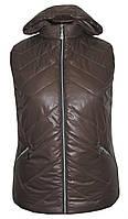 Весенняя жилетка с капюшоном больших размеров,утеплитель силикон,размеры с 54 по 64, темно коричневый(2)