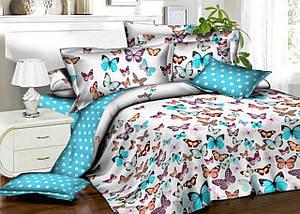 Семейный комплект постельного белья «Бязь бабочки в горошек»