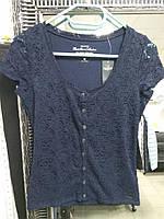 Женская темно-синяя ажурная футболка Hollister, фото 1