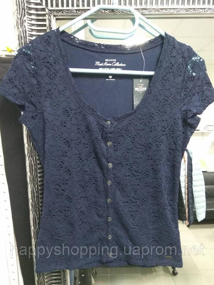 Женская темно-синяя ажурная футболка Hollister
