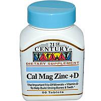 Кальций магний цинк (Calcium Magnesium Zinc) с витамином Д3, 21st Century Health Care, 90 таблеток