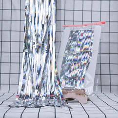 Дождик серебристый с голограммой для фотозоны - (высота 3 метра, ширина 1метр)