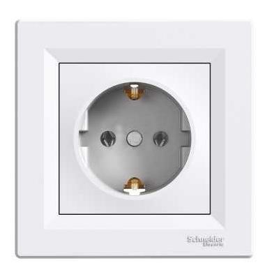 Розетка с заземляющим контактом Schneider Electric Asfora, белый