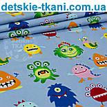 """Лоскут ткани """"Чудики"""" на серо-голубом фоне № 961а, фото 2"""