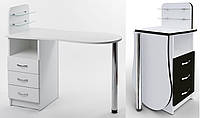 """Стол для маникюра c стеклянными полочками под лак """"Эстет №1"""""""