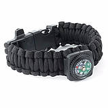 Браслет Paracord  Flint-Fire + separate compass black, фото 2