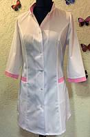 Халат медицинский белый с розовой отделкой