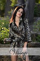 Стильное леопардовое пальто на запах